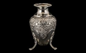 Dutch - 19th Century Planished Silver Egg Shaped Small Vase - Supported on a Trio of Coronet and