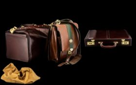 A Collection of Three Leather Men's Bags comprising of a Ruby of London Satchel,