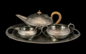 English Pewter Hand Crafted 1930s Fine Quality Hammered Pewter Three-Piece Tea Service with