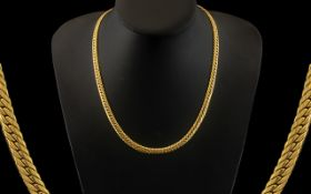 9ct Yellow Gold Good Quality Serpentine Design Chain / Necklace of Excellent Warm Colour with Full