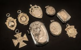 A Small Collection of Antique and Vintage Sterling Silver Medals, pill boxes,