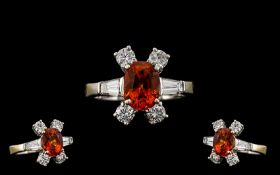 18ct White Gold Stunning and Quality Fire Opal and Diamond Set Dress Ring. The Faceted Fire Opal