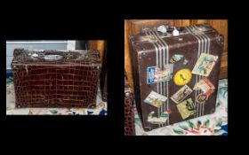 Early 20th Century Crocodile Travelling Suitcase, excellent quality,