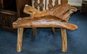 """A Modern Driftwood/Rootwood Bench of rustic free form design. 41"""" width, tallest point 28""""."""