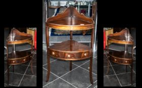 Reproduction Mahogany Corner Washstand, In The Georgian Style, Bow Fronted With Splash Back With