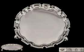 1930's Good Quality Sterling Silver Circular Salver Raised on a Trio of Stylished Feet with