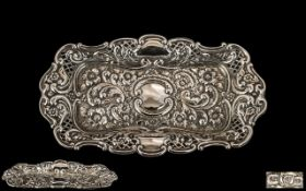 Victorian Period Ornate Sterling Silver Rectangular Shaped Pin Tray,