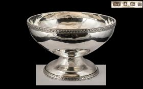 George VI - Arts and Crafts Style Superb Quality Sterling Silver Planished Hammered Footed Bowl of