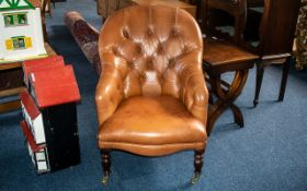 Laura Ashley Style Leather Spoon Backed Armchair, with button back and seat on turned legs,