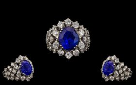 Leo Pizzo Signed Stunning and Exquisite 18ct White Gold Tanzanite and Diamond Set Cluster Ring