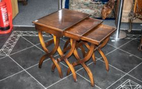 Reproduction Mahogany Nest Of Three Tables In The Georgian Style, Shaped Stretcher Side Supports,