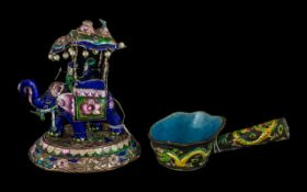 Indian Silver and Enamel Pearl Encrusted Group of An Elephant Carrying Figures In an Howdah on It's