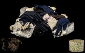 Hatbox Containing Vintage Gloves & Lace, comprising three pairs of navy blue gloves,