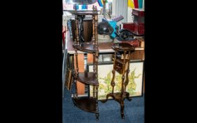 Reproduction Four Tier What-Not Corner Stand, with a mahogany shaving stand.