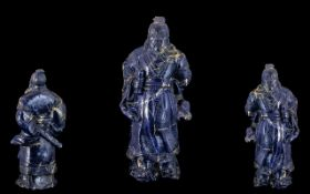 Antique Chinese Large Carved Lapis Lazuli Figure depicting a Chinese deity,