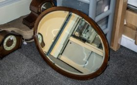 """Large Oval Wooden Framed Mirror, vintage style, mirror with bevelled edges. Measures 32"""" x 23""""."""