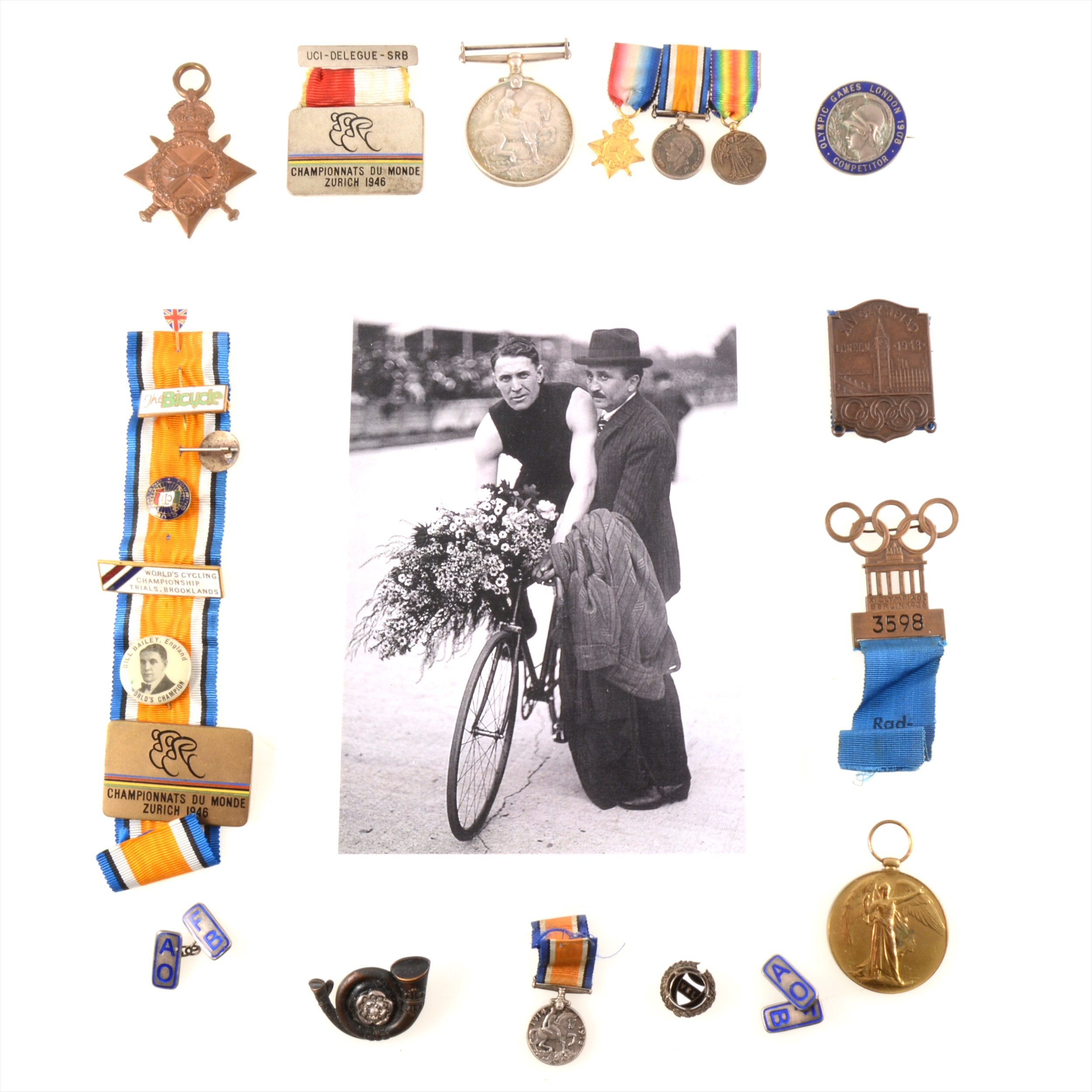 """Lot 179 - The London 1908 Olympic Games Competitor badge of William """"Bill"""" Bailey, Sprint Cycling World"""
