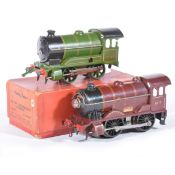 Two Hornby O gauge model railway locomotives; electric 20-volt LMS brown and 501 green
