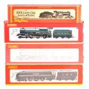 Hornby OO gauge model railway locomotives; four including R2270, R2460, R2317, R390.