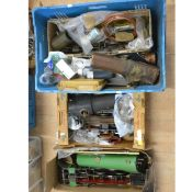 Three boxes of live steam railway parts and spares; including boiler parts/bodies, two locomotive