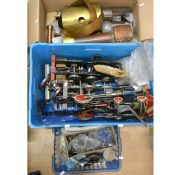 Three boxes of live steam railway parts and spares and part built models; including five locomotive