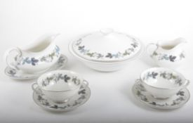 A Royal Doulton translucent china dinner service, Burgundy pattern.