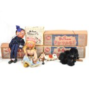 Pelham Puppets; four including black poodle, police man, girl and Muffin the Mule, all boxed.