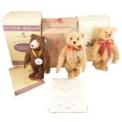 Three Modern Steiff teddy bears, Dicky Brown, 1996/1997 club edition and Teddybar Celebration bear