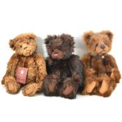 Charlie Bears; three Anniversary bear including Edward, Jack, Daniel, all with tags.