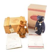 Two Modern Steiff teddy bears, Bar 420351 and Teddy bear 1909 dark blue.