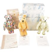 Three Modern Steiff teddy bears; Children in Need bear, Margarette and Signature bear.