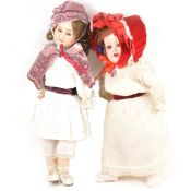Two German composition dolls; a Heubach and Koppelsdor and one other.