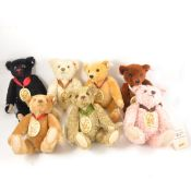 Modern Steiff teddy bears; seven Margarette Steiff Museum bears, 1998 to 2004, all with tags, all