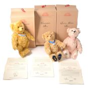 Three Modern Steiff teddy bears, Queen Mother, Coronation and Golden Jubilee bear