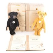 Modern Steiff teddy bears; four Teddybar 1908 bears, green, faded pink, black and yellow
