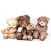 Charlie Bears; four including Snuggle and Wurve, Parker, Mischief, all with tags.