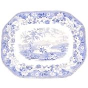 Two Victorian blue and white printware meat plates