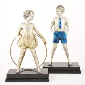 Ferdinand Preiss, 'Sonny Boy' and 'Hoop Girl' a large pair of Art Deco bronze figures