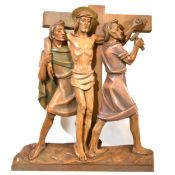 Set of fourteen carved and limed poplar Station of the Cross