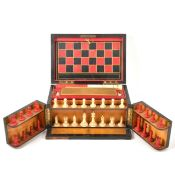 A Victorian Coromandel fitted games compendium