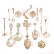 Victorian silver sifter spoon, Danish cutlery and beakers