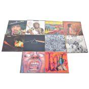Ten LP vinyl records; including The Grateful Dead, King Crimson etc