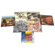 Seven LP vinyl records; including Cream, Edgar Broughton Band, The Beatles, etc.