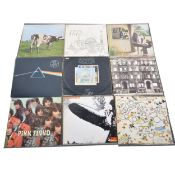 Eight Led Zeppelin and Pink Floyd LP vinyl records