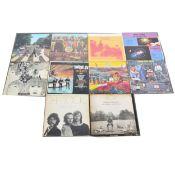 Ten LP vinyl records; including The Beatles, David Bowie, The Doors, etc.