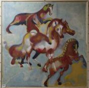 Gibello (20th century Spanish), oil on canvas, Stylised study of horses, 91 x 91cm