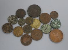 A Victoria 'bun' penny 1858, edge knocks otherwise EF, various tokens and copper and bronze coinage
