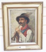 R. Webb, oil on canvas board, Italian piper, signed, 37 x 27cm