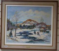 Walter Pranke, oil on canvas, 'Quebec, Winter 1973', signed, 50 x 60cm