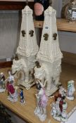 A pair of Wheldon cream decorated pottery models of elephants with obelisk howdahs height 61cm